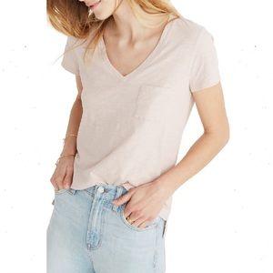 Madewell Whisper Cotton V-Neck Pocket Tee Blush